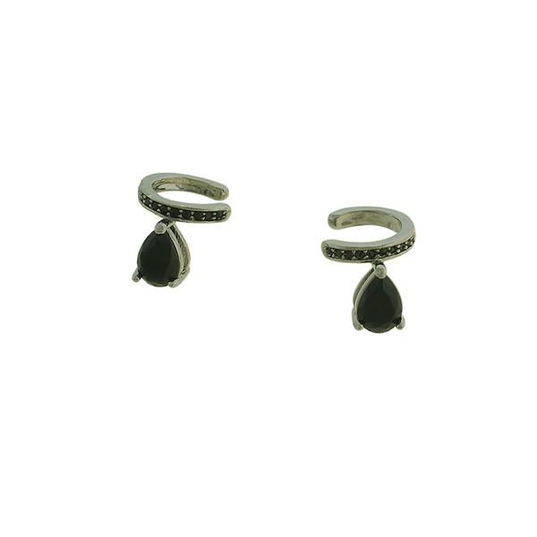 Brinco Piercing de Pressão Zircônia Lesprit 15845 Ródio Negro Preto
