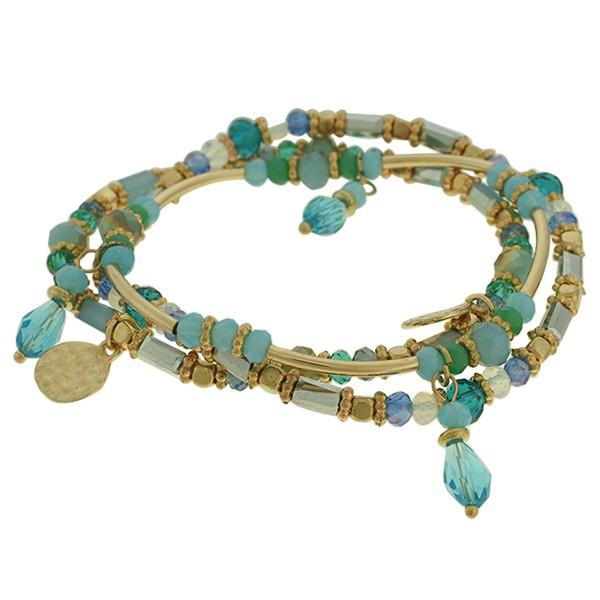 Pulseira Cristal Lesprit K03882-46250 Dourado Azul