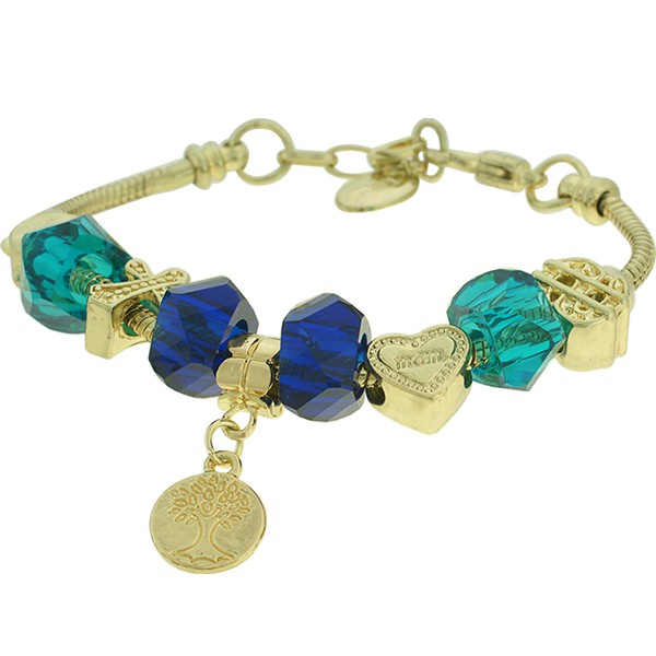 Pulseira Beloque Cristal Lesprit K03882-50710 Dourado Azul
