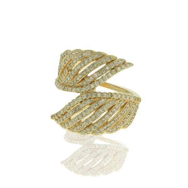 Anel Zirconia Lesprit LA03631 Dourado Cristal
