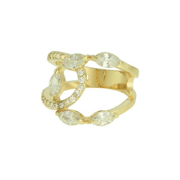 Anel Zircônia Lesprit LA07171WGL Dourado Cristal