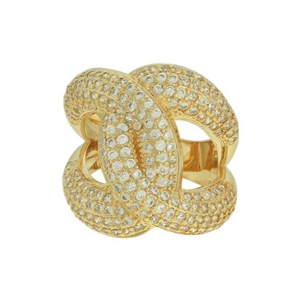 Anel Zircônia Lesprit LA08571WGL Dourado Cristal