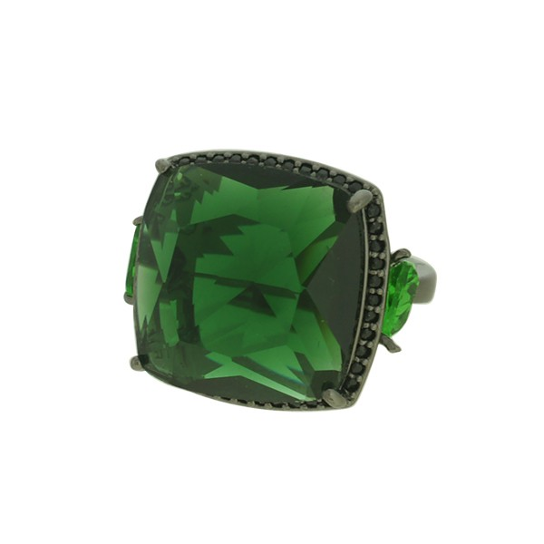 Anel Zircônia Lesprit LA07191BOEMBK Ródio Negro Verde
