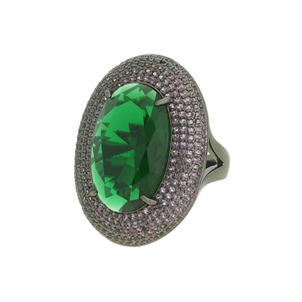 Anel Zircônia Lesprit LA04591 Ródio Negro Verde e Ametista