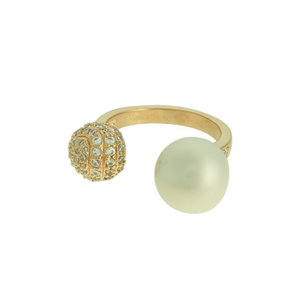 Anel Zircônia Lesprit LA07651 Dourado Cristal e Pérola
