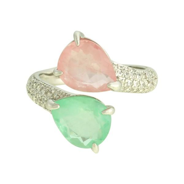 Anel Zircônia Lesprit LA05861 Ródio Rosa e Verde Água
