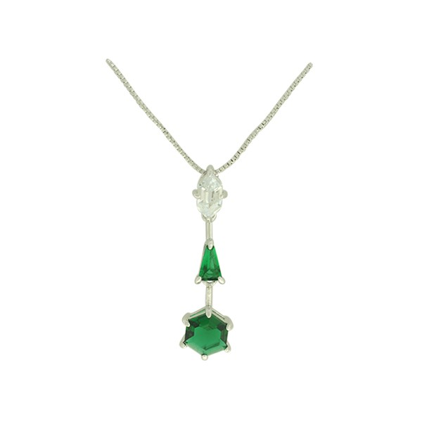 Colar Zircônia Lesprit LC03301WEMRH Ródio Verde Esmeralda