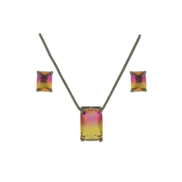 Conjunto Zirconia Lesprit U18A020041 Ródio Negro Rainbow Rosa e Amarelo