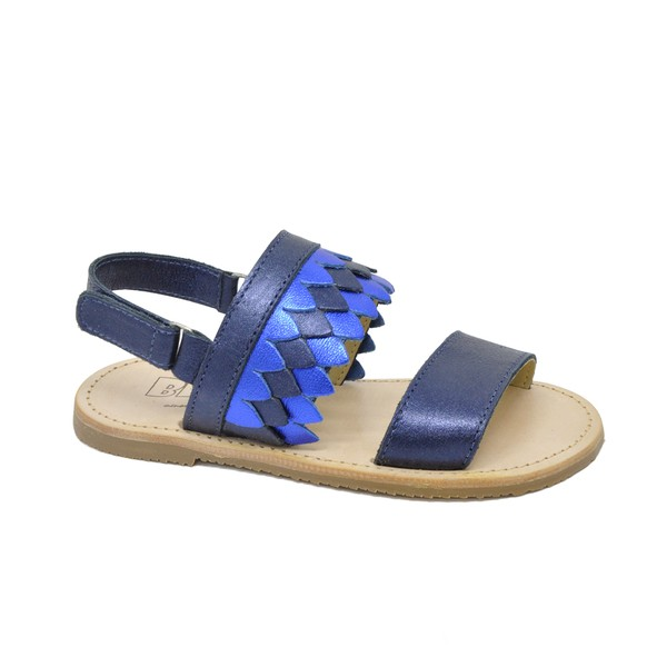 Sandália Infantil Feminina Larisse Metalizado Azul Denin / Azul Bic