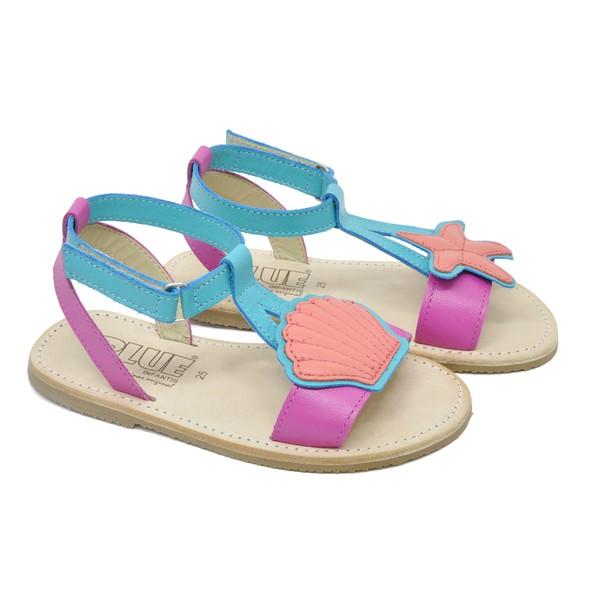 Sandália Infantil Feminina Lolla Pink Fluor / Piscina / Coral
