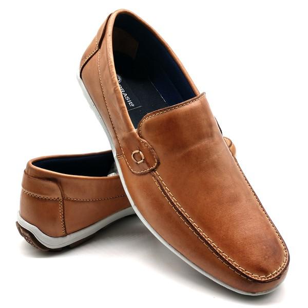 Sapato Masculino Mocassim Sapatilha Sider Couro Bm Brasil 175/09 Bege