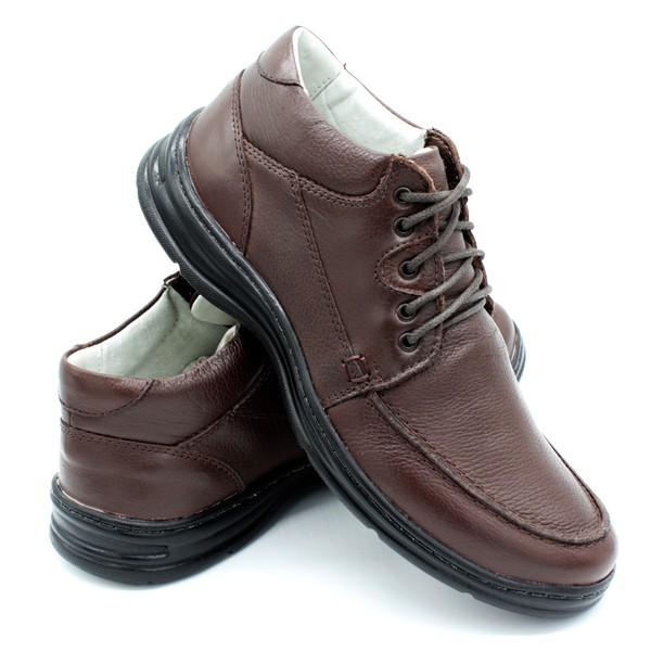 Sapato Confort Plus Bmbrasil De Couro Palmilha Em Gel Extra Leve 2710/02 Café