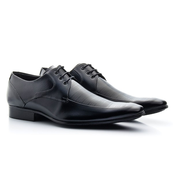 Sapato Social Masculino Couro Legítimo De Amarrar 307 Preto Furos