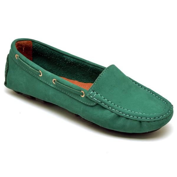 Sapatilha Calçado Mocassim Em Couro Feminino Casual 14000 Verde