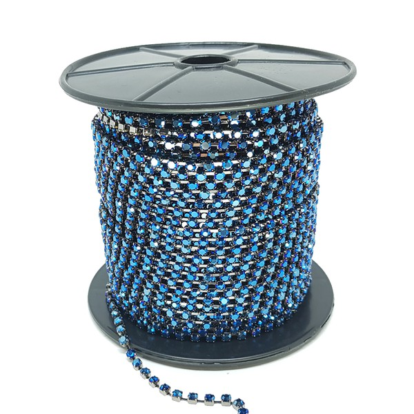 Corrente SS16 / PL32 - Pedra Hematite Blue, Banho Grafite.