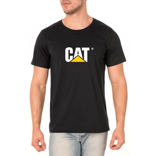 Camiseta Caterpillar Masculina 100% Algodão - Preta