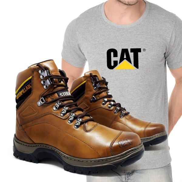 Bota Caterpillar 2061 - Avelã + Camiseta Cinza Cat