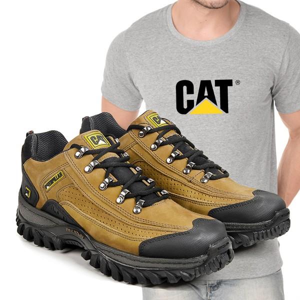 Tênis Caterpillar 2085 - Milho + Camiseta Cinza Cat