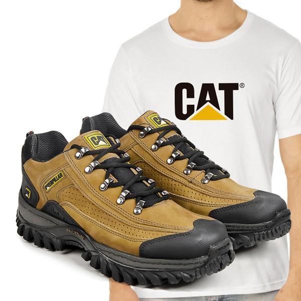 Tênis Caterpillar 2085 - Milho + Camiseta Branca Cat