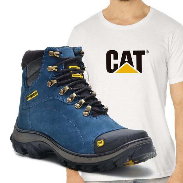 Bota Caterpillar 2160 - Azul + Camiseta Branca Cat