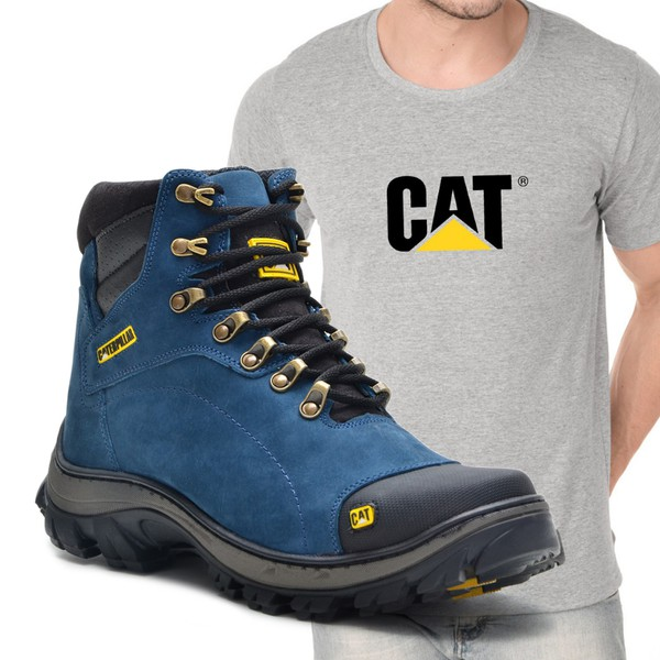 Bota Caterpillar 2160 - Azul + Camiseta Cinza Cat
