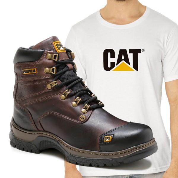 Bota Caterpillar 2189 - Café Castanho + Camiseta Branca Cat