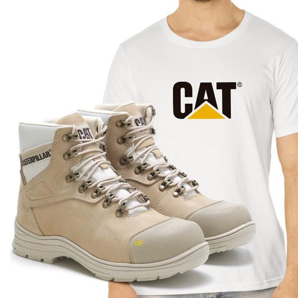 Bota Caterpillar 9820 - Nude + Camiseta Branca Cat