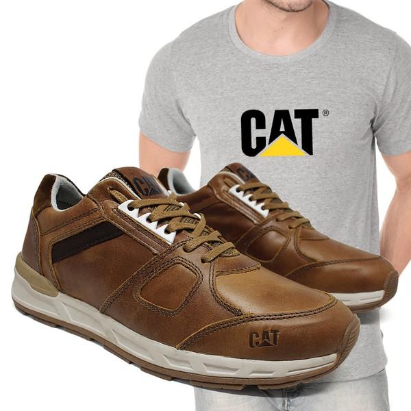 Tênis CAT WoodWard - Cevada + Camiseta Cinza Cat