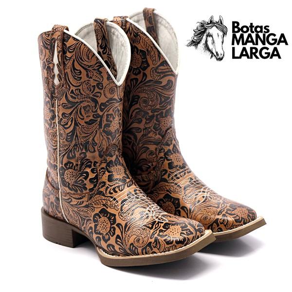 Bota Texana Feminina Floral Ocre Bico Quadrado