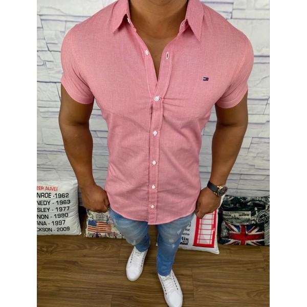 Camisa Manga Curta Tommy - Vermelho Escuro
