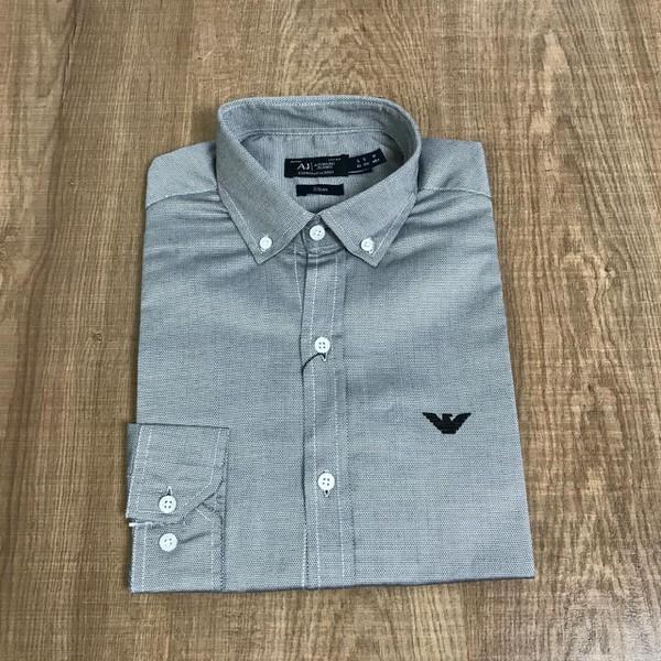 Camisa Armani - Manga Longa Cinza Escuro