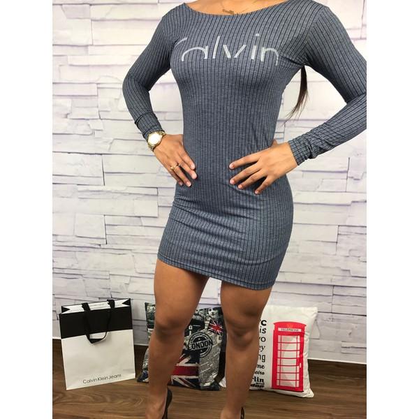 Vestido Calvin Klein listrado