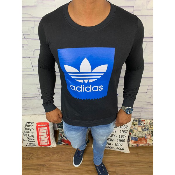 Blusa de Frio Adidas - Moletinho Preto Logo Branco c/Azul
