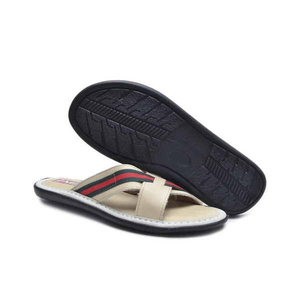 Chinelo Masculino em Couro Off White
