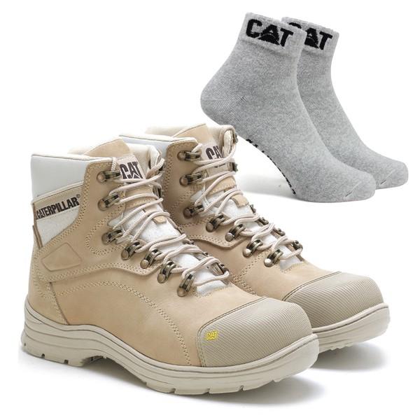 Bota Caterpillar 9820 Nude + Meia Cinza CAT