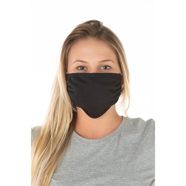 Kit 2 Máscaras de Proteção Dupla Reutilizavel 100% Algodão - Preta
