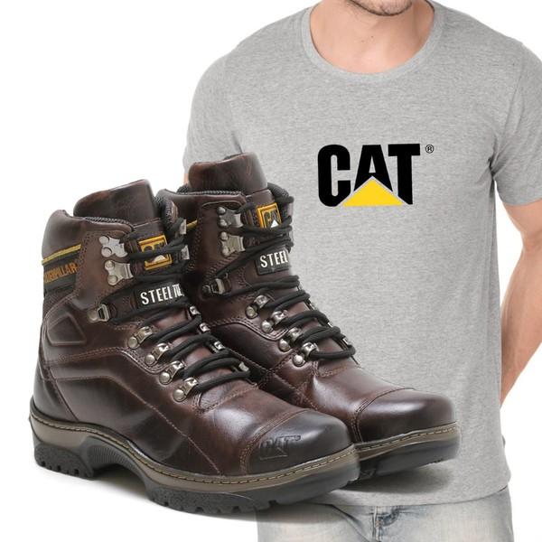 Bota Caterpillar 2061 - Castanho + Camiseta Cinza Cat