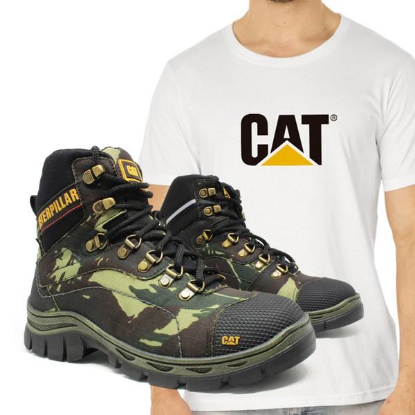 Bota Caterpillar R-2061 - Camuflada + Camiseta Branca Cat