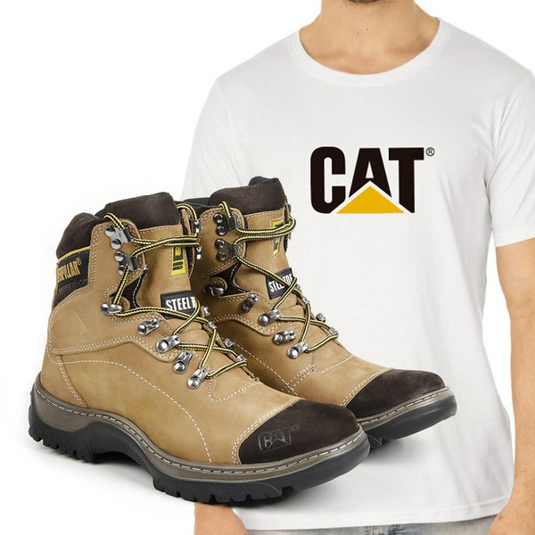 Bota Caterpillar 2061 - Milho + Camiseta Branca Cat