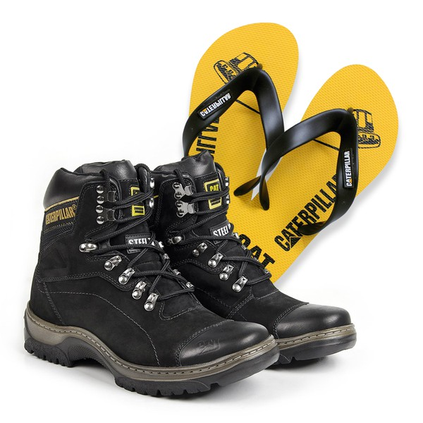 Bota Caterpillar 2061 - Preto + Chinelo Cat Amarelo