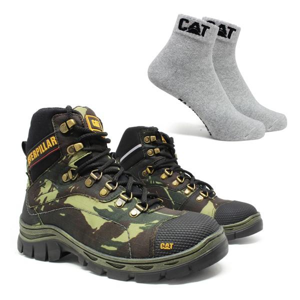 Bota Caterpillar R-2061 - Camuflada + Meia Cinza CAT