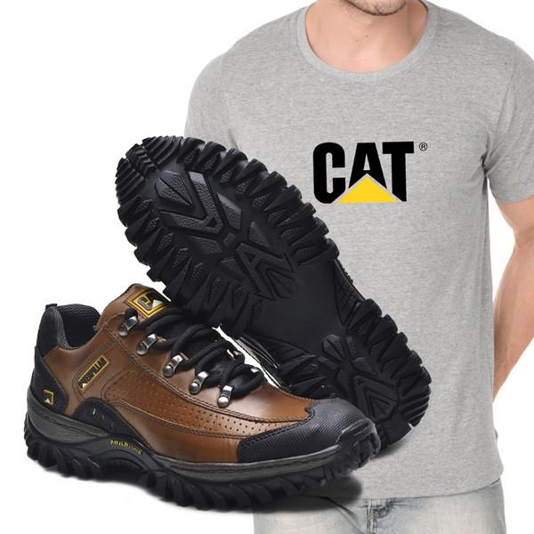 Tênis Caterpillar 2085 - Avelã + Camiseta Cinza Cat