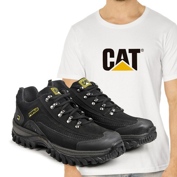 Tênis Caterpillar 2085 - Preto + Camiseta CAT Branca