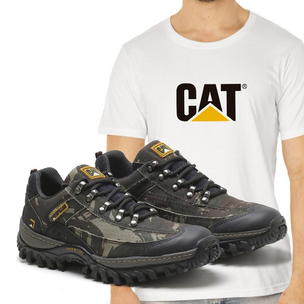 Tênis Caterpillar 2085 - Camuflada + Camiseta Branca Cat