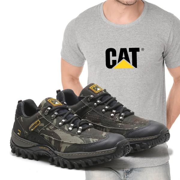 Tênis Caterpillar 2085 - Camuflada + Camiseta Cinza Cat