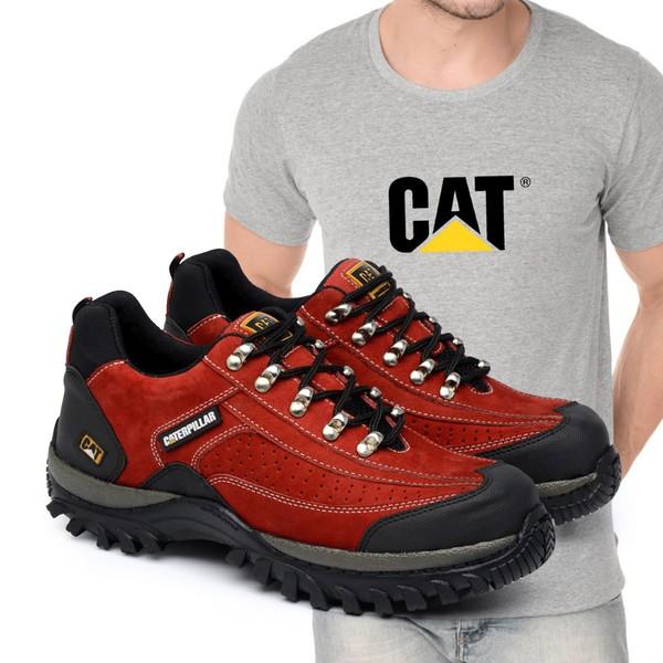 Tênis Caterpillar 2085 - Vermelho + Camiseta Cinza Cat