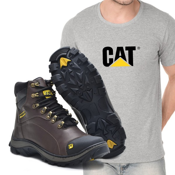 Bota Caterpillar 2160 - Café Liso - Camiseta Cat
