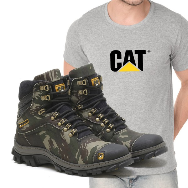 Bota Caterpillar 2160 - Camuflada + Camiseta Cat