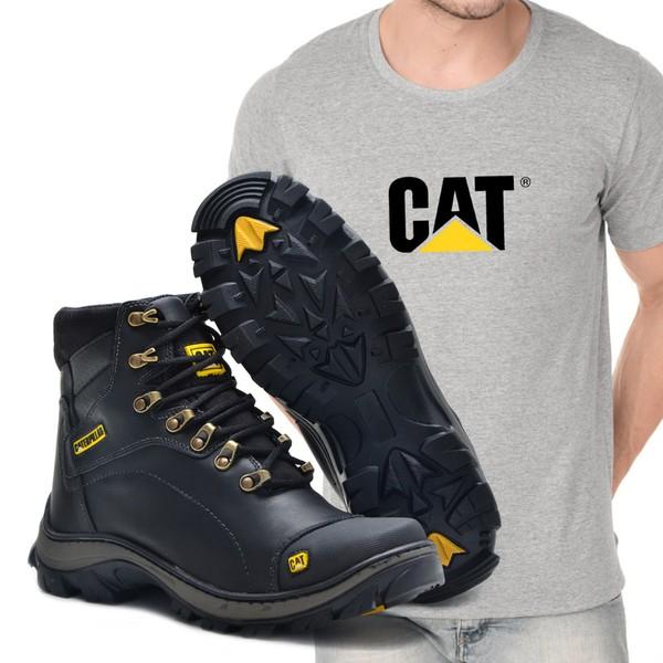 Bota Caterpillar 2160 - Preto Liso + Camiseta