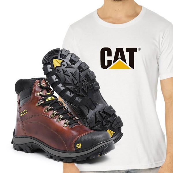 Bota Caterpillar 2160 - Castanho + Camiseta Branca Cat